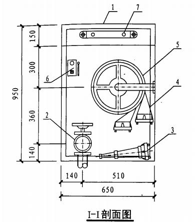 甲型带应急照明单栓室内消火栓箱(I-I剖面图)