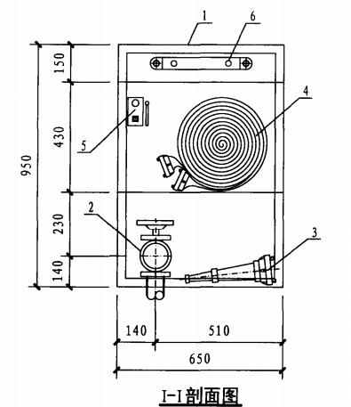 乙型带应急照明单栓室内消火栓箱(I-I剖面图)