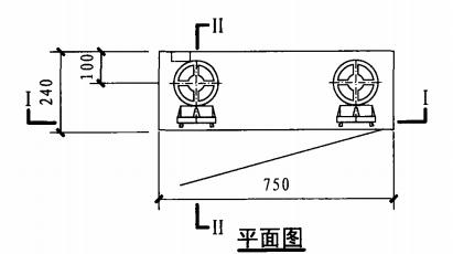 乙型带应急照明双栓室内消火栓箱(平面图)