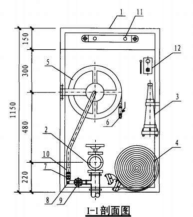 单栓带应急照明配消防软管卷盘消火栓箱(I-I剖面图)