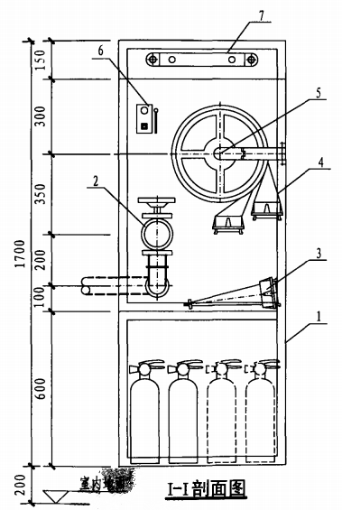 甲型带应急照明及灭火器箱组合式消防柜(I-I剖面图)