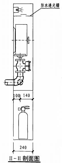 甲型带应急照明及灭火器箱组合式消防柜(II-II剖面图)