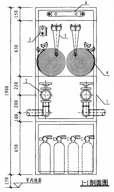 乙型带应急照明及灭火器箱组合式消防柜(I-I剖面图)