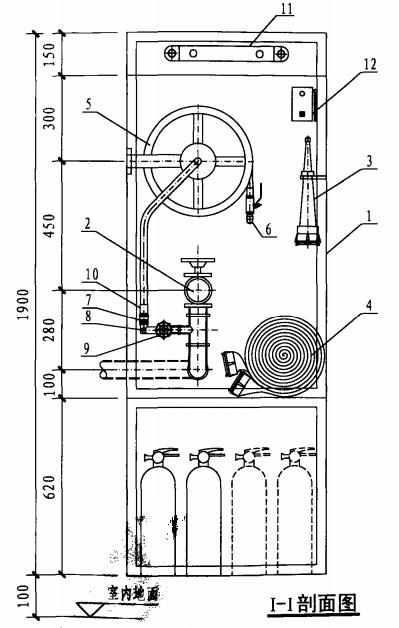 丙型带应急照明及灭火器箱组合式消防柜(I-I剖面图)