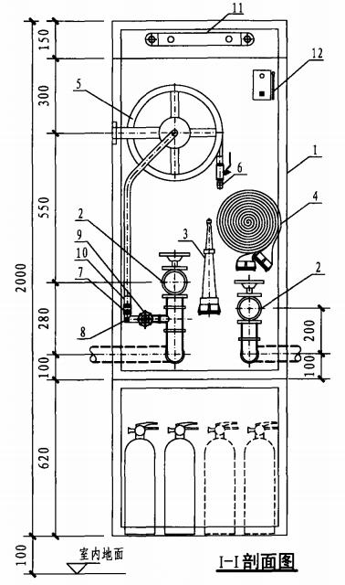 丁型带应急照明及灭火器箱组合式消防柜(I-I剖面图)