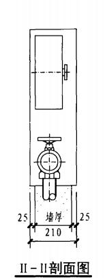 单栓前后开门消火栓箱(II-II剖面图)