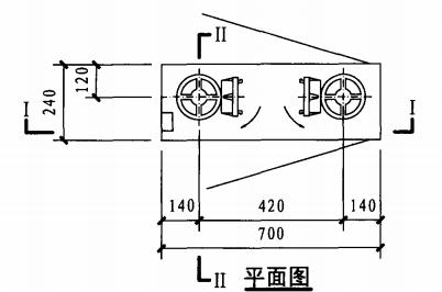 双栓前后开门消火栓箱(平面图)