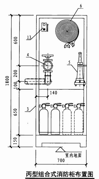 丙型组合式消防柜布置图