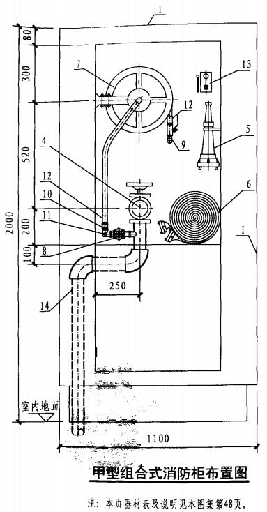 甲型组合式消防柜布置图