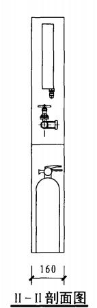 轻便消防水龙柜(二)(II-II剖面图)
