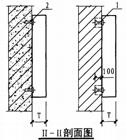 明装消火栓箱砖墙、混凝土墙上安装固定图(II-II剖面图)