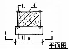 明装消火栓箱混凝土柱上安装固定图(平面图)