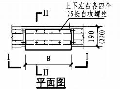 暗装消火栓箱轻钢龙骨石膏板墙上安装固定图(平面图)