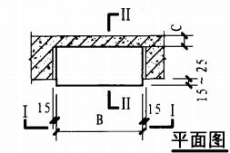 暗装消火栓箱砖墙、混凝土墙上安装固定图(平面图)