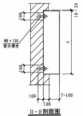 半暗装消火栓箱砖墙上安装固定图(II-II剖面图)