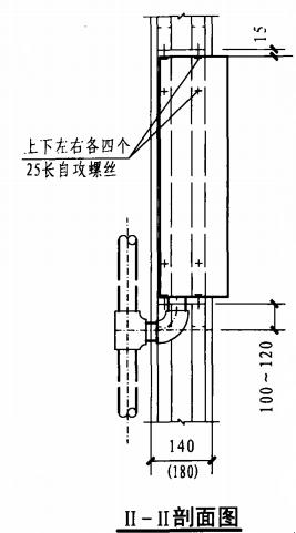 半暗装消火栓箱轻钢龙骨石膏板墙上安装固定图(II-II剖面图)