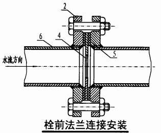 减压孔板安装图(栓前法兰连接安装)