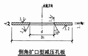 减压孔板安装图(倒角扩口型减压孔板)
