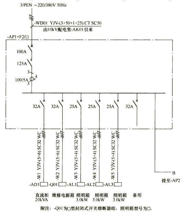 图7 动力配电箱系统图示例(垂直方向表示)