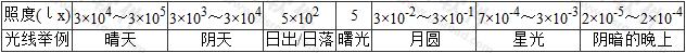 表1 一般画面的典型照度