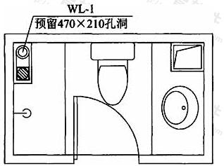 图4 平面图中注明排水立管预留孔洞尺寸