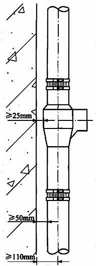 图3 管壁距墙体距离示意