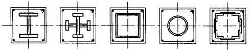 表4.1.2 型钢混凝土柱的型钢截面配筋形式