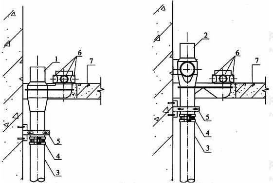 图4.3.2-1 导流连体地漏或导流三通连体地漏微降板安装方式一
