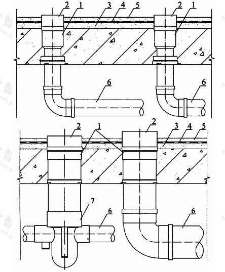图4.3.4-2 应用于异层排水安装方式一