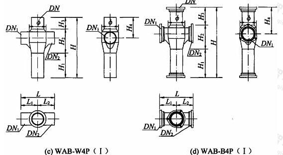 图A.1.3-1 180°四通加强型旋流器外形