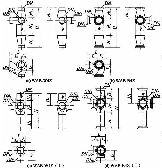 图A.1.3-2 90°四通加强型旋流器外形Ⅰ