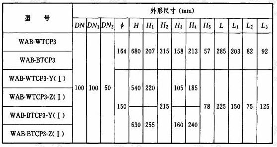 表A.1.3-3 90°四通加强型旋流器外形尺寸
