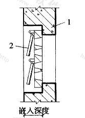 图3.4.6 悬板活门嵌入墙内深度示意