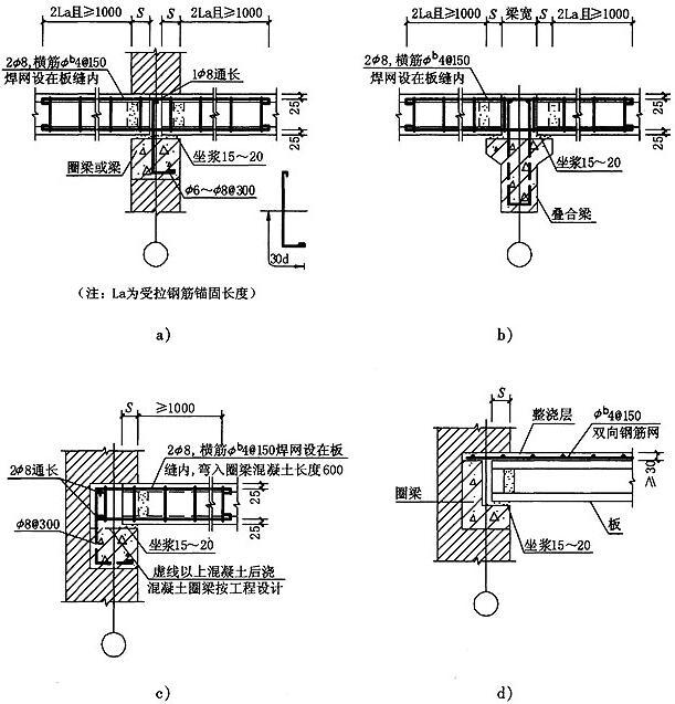 图3.2.1-1 空心板与圈梁、梁的连接
