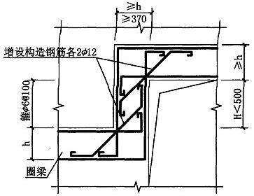 图5.2.2-2 圈梁拐弯处构造