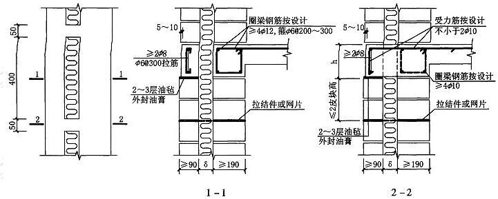 图5.5.2 夹心墙圈梁节能构造
