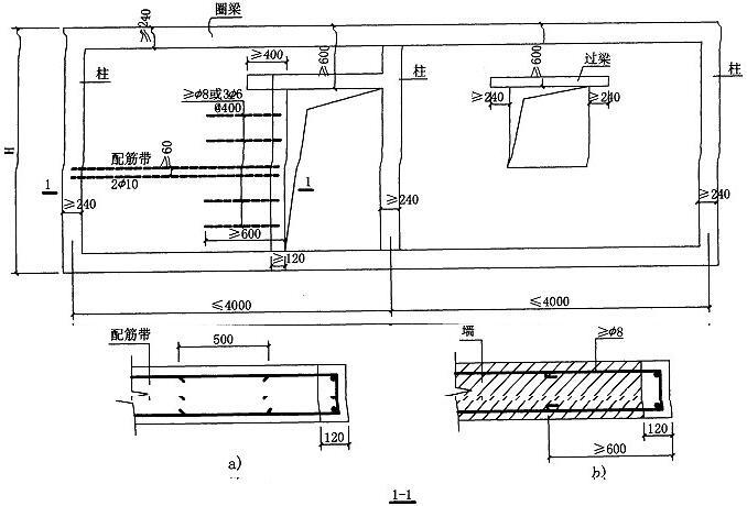 图5.10.3 组合墙开洞构造示意