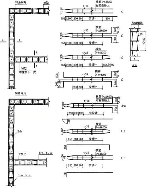 图6.3.3-2 配筋砌块墙灰缝配筋