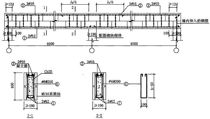 图6.3.1-3 两跨梁配筋图示意