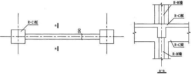 图7.4.5-2 R·C框架与R·M墙连接构造