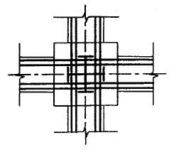 图9.1.4 型钢混凝土梁柱节点穿筋构造