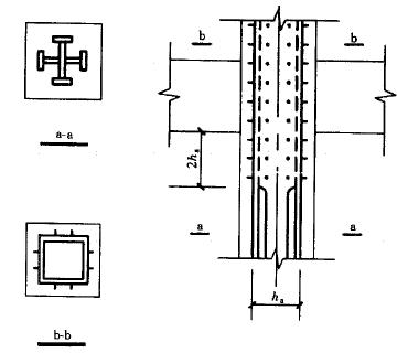 图9.2.2 型钢混凝土柱与钢结构柱连接构造