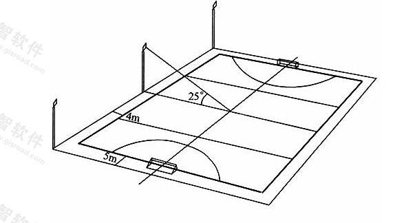 图6.2.5-1无电视转播时曲棍球场灯杆布置