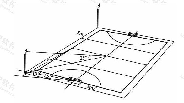 图6.2.5-2有电视转播时曲棍球场灯杆布置