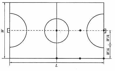 图8.3.1-4室内体育馆眩光测量点图