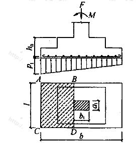 验算阶形基础受剪切承载力示意
