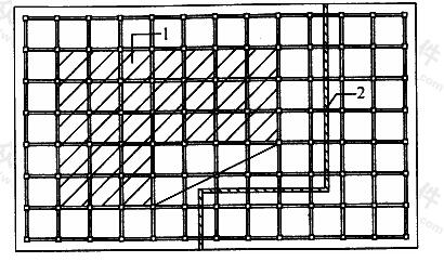 平面呈L形的高层建筑后浇带示意