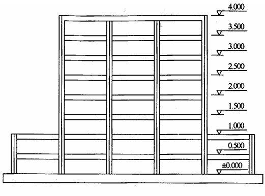 大底盘结构试验模型平面及剖面