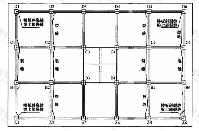 一层楼板板面裂缝位置图