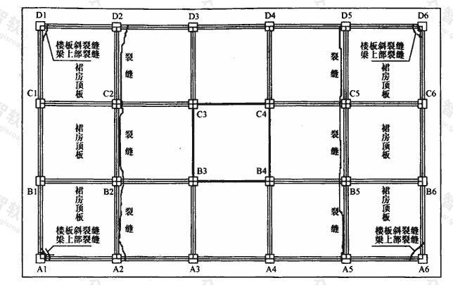 二层楼板板面裂缝位置图